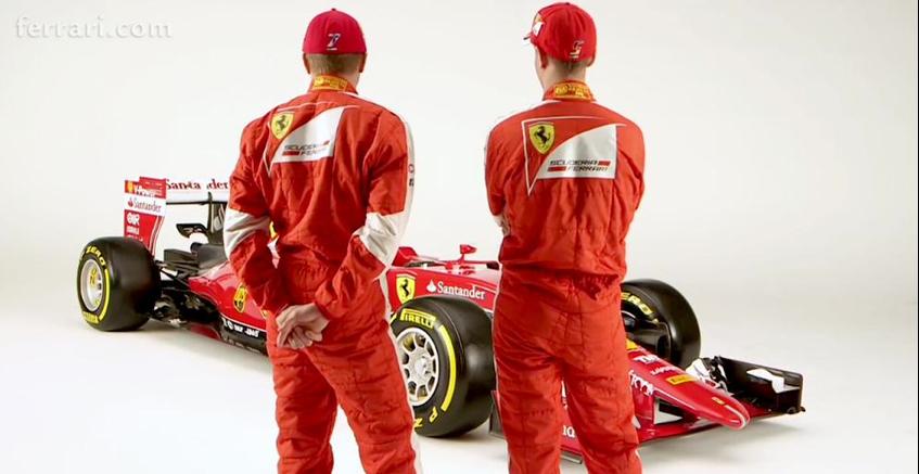 Vettel und Räikkönen vorm neuen Ferrari. Credit: Ferrari