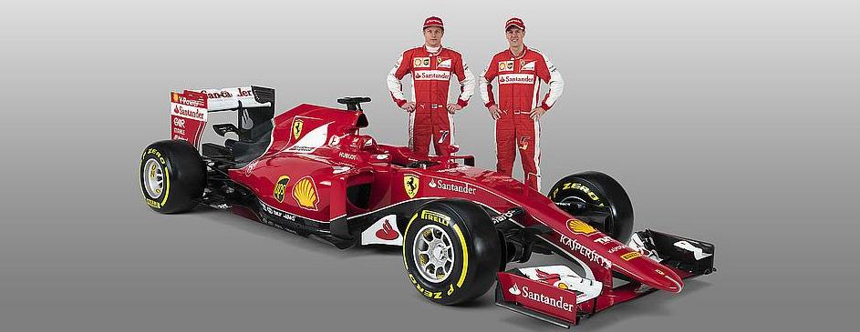 Vettel und Räikkönen mit dem SF15-T. Credit: Ferrari