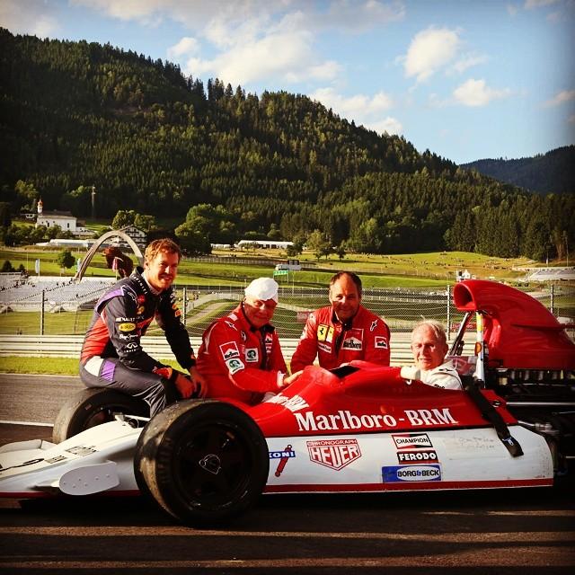 Vettel und Berger mit Marko und Lauda in Österreich 2014
