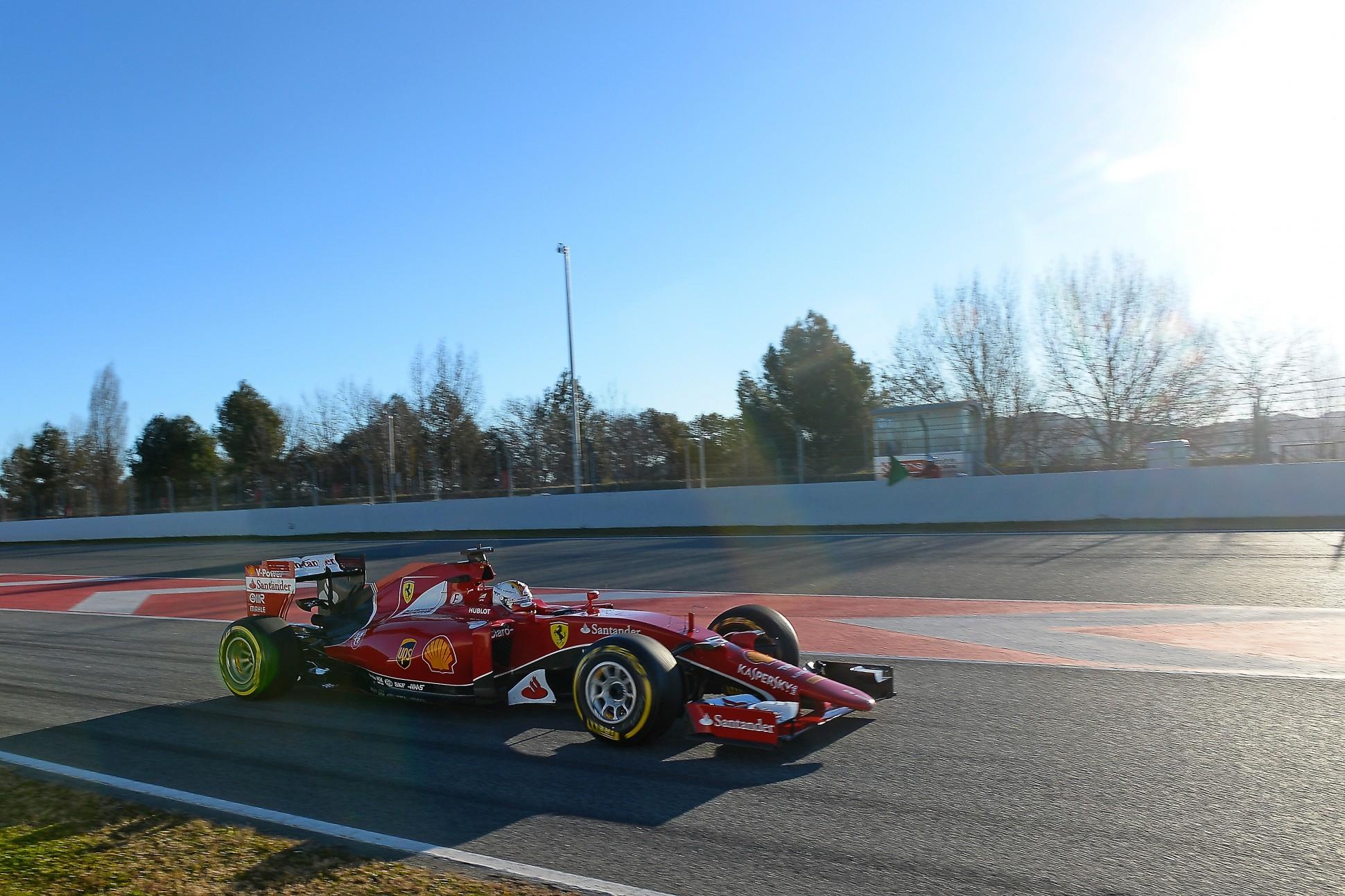 Sebastoan Vettel im Ferrari in Barcelona. Copyright: Ferrari