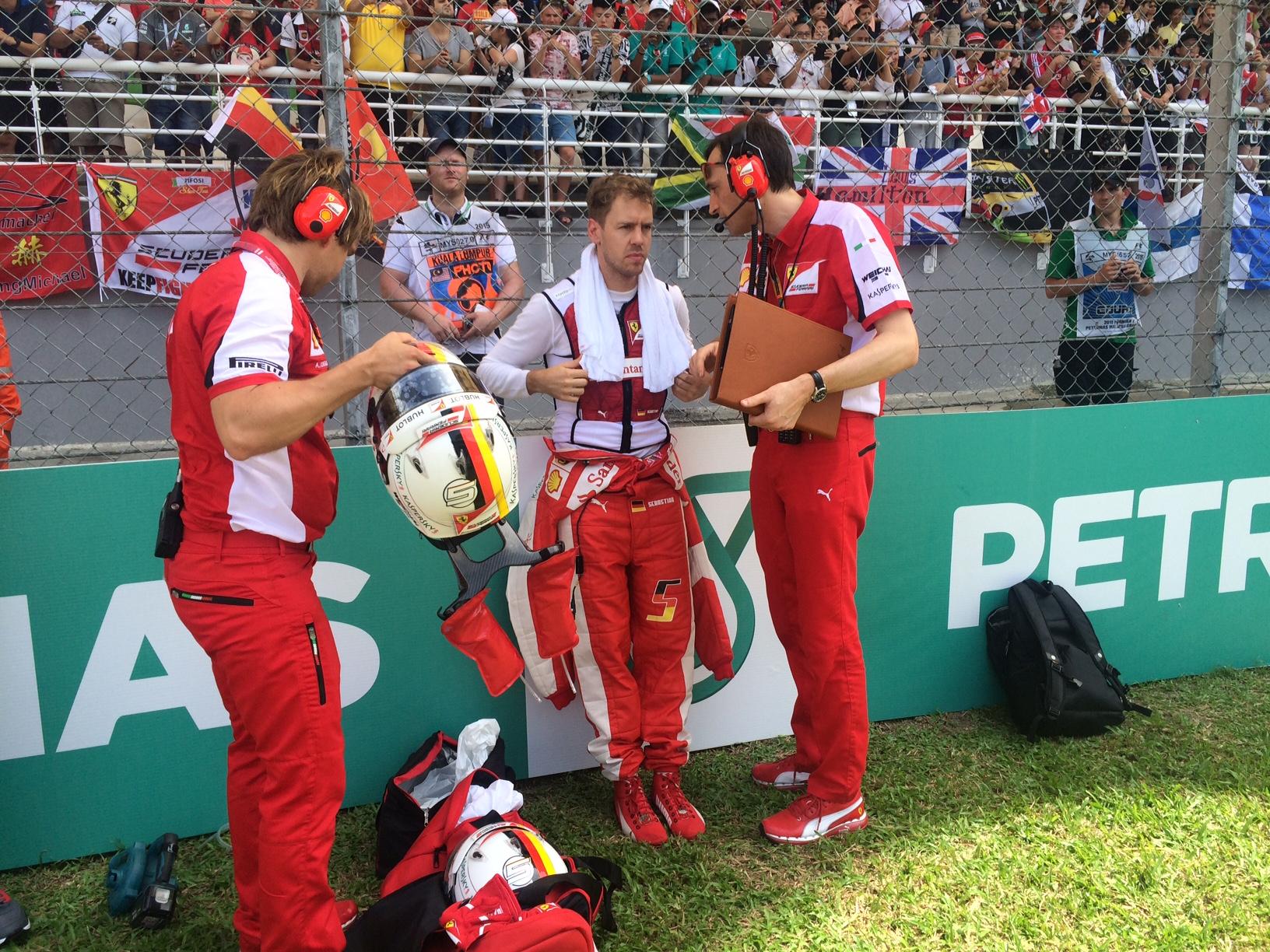 Vettel vorm Start in Malaysia. Copyright: F1-insider.com