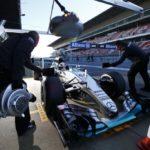 Mercedes beim Test in Barcelona. Copyright: Mercedes