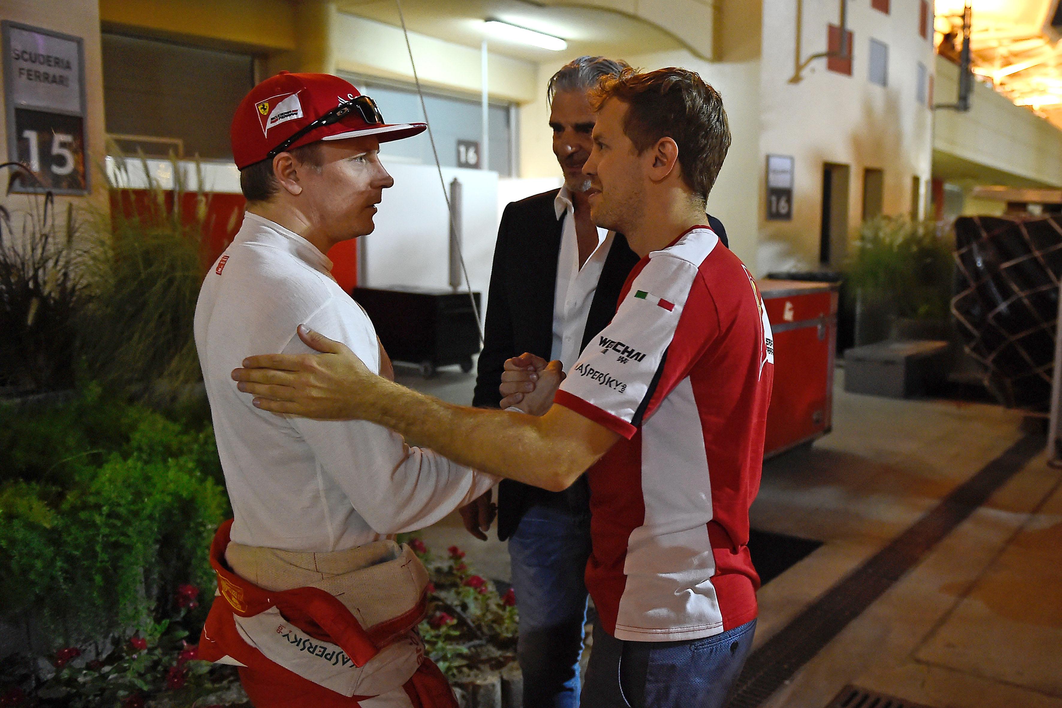 Räikkönen, Vettel, Arrivabene in Bahrain. Copyright: Ferrari