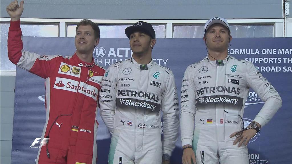 Vettel, Hamilton und Rosberg