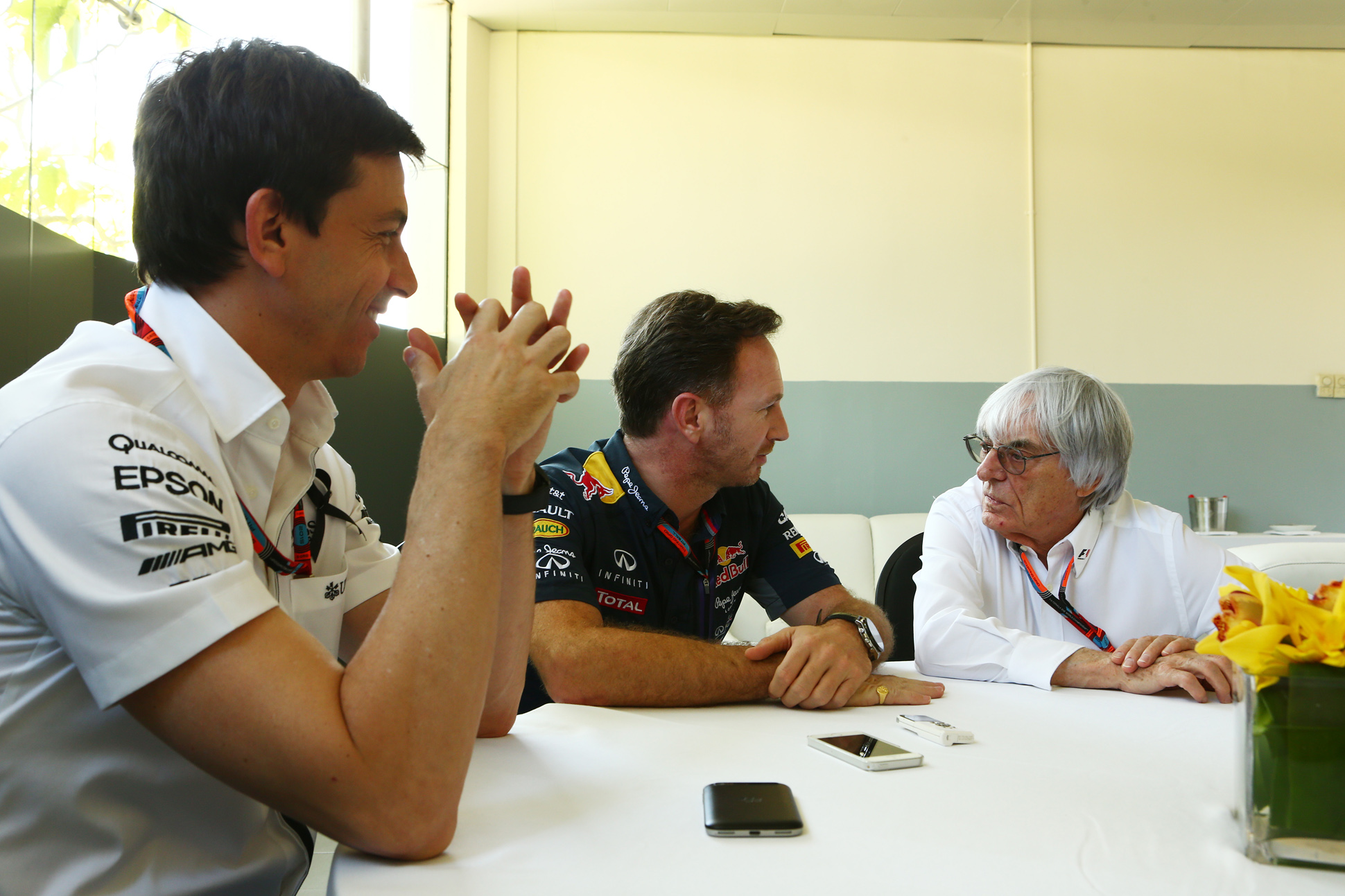 Wolff, Horner, Ecclestone. Copyright: Thanks to Russell Batchelor, xpbimages.com