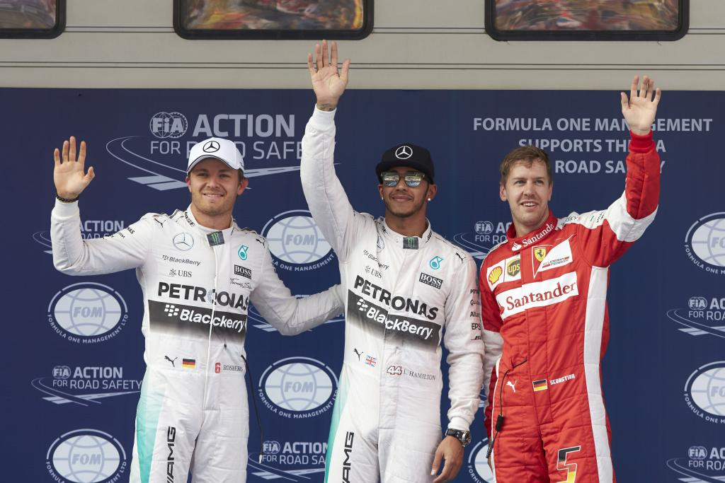 Rosberg, Hamilton und Vettel auf dem Podium in China. Copyright: Mercedes