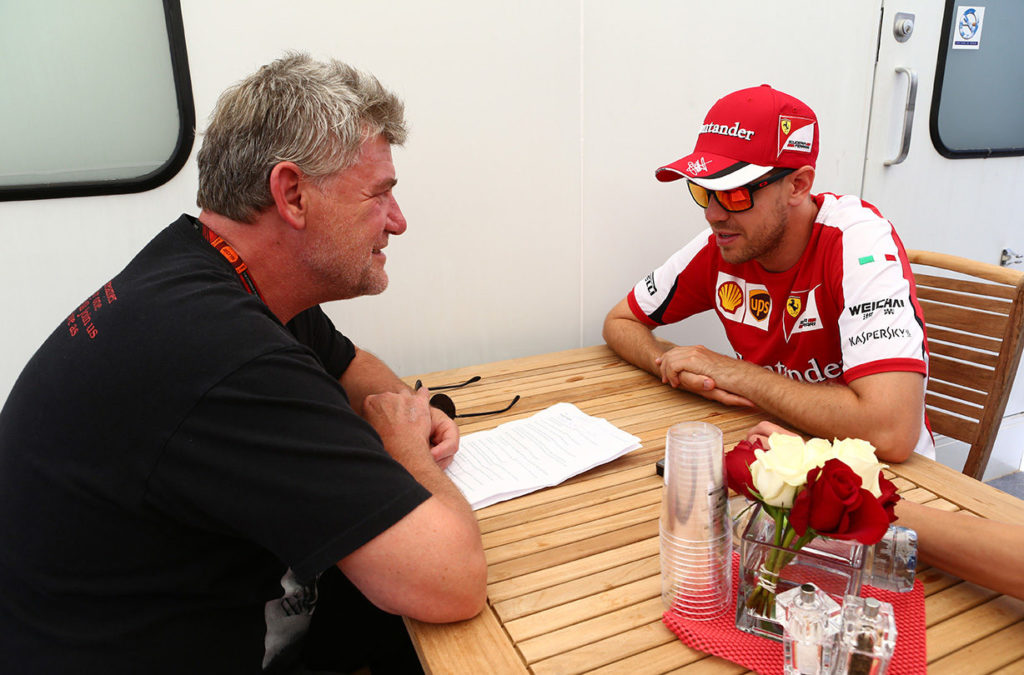 Vettel and F1-insider.com Ralf Bach. Thanks to Russel Batchelor, xpbimages.com