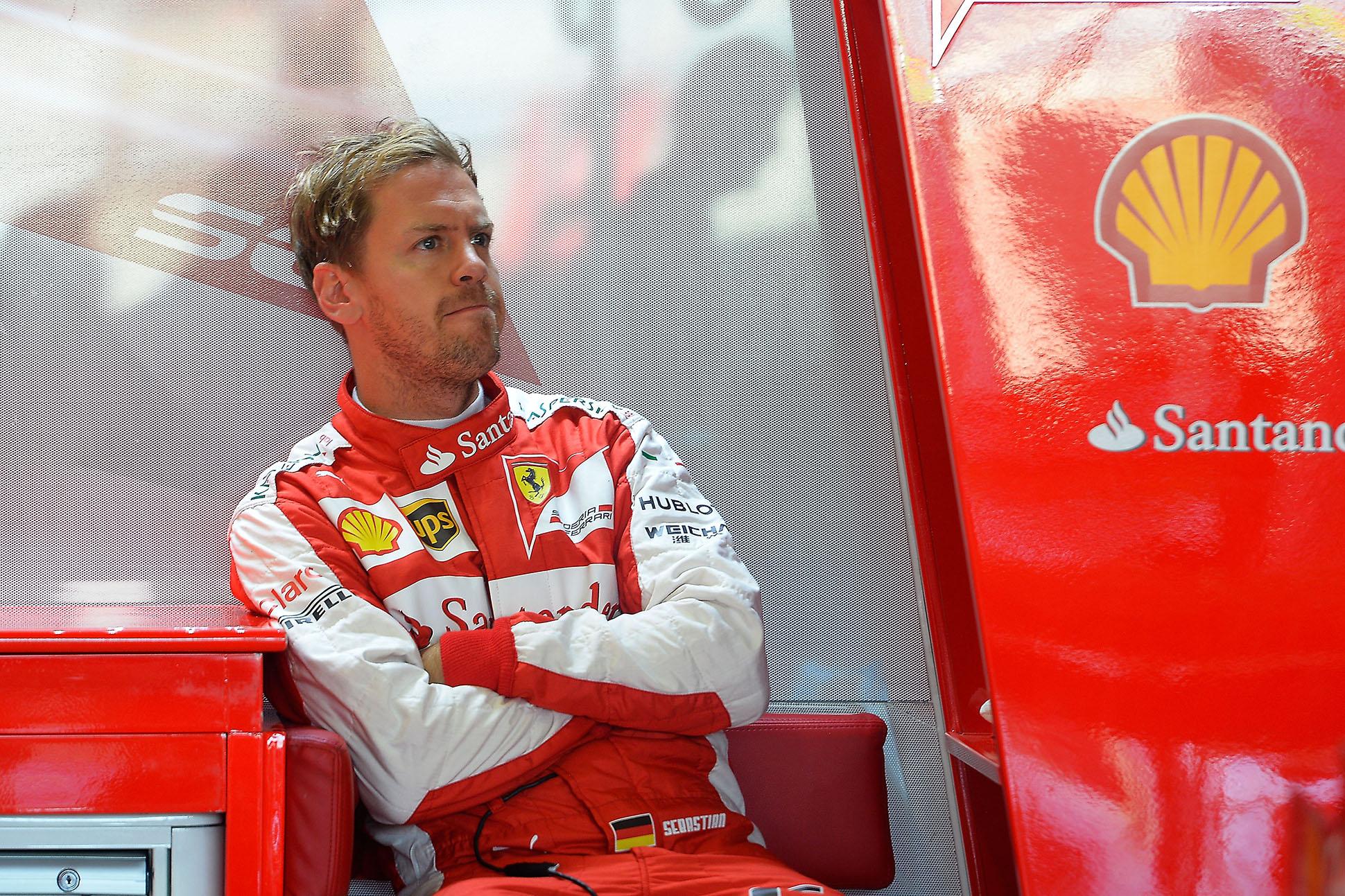 Vettel sauer über Platz sechs. Copyright: Ferrari