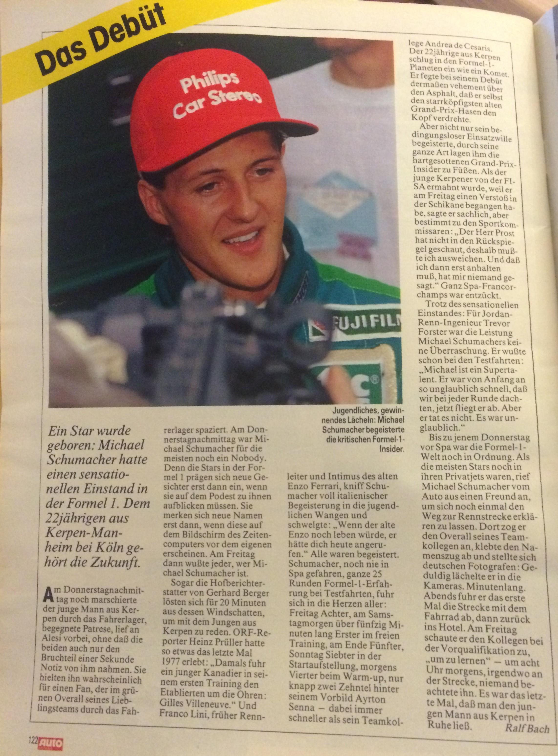 Artikel zu Schumachers Debüt