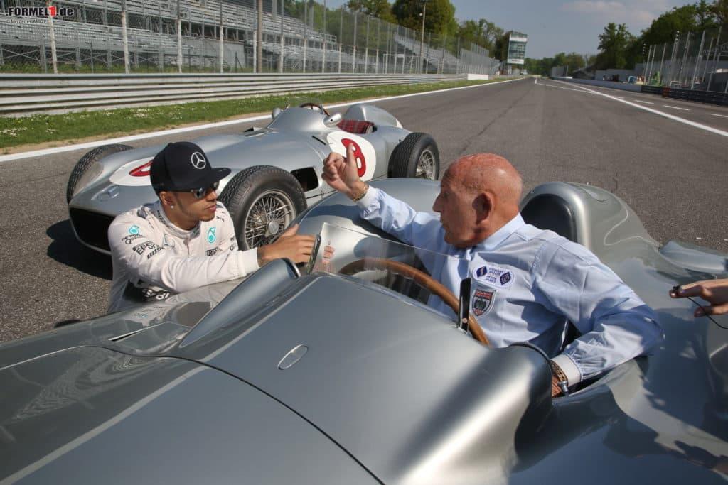 Lewis Hamilton und Stirling Moss. Credit: Mercedes