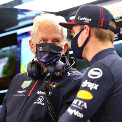 Helmut Marko mit Max Verstappen. Photo by Getty Images/Getty Images
