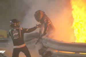 Romain Grosjeans Feuerunfall. Credit: F1 TV