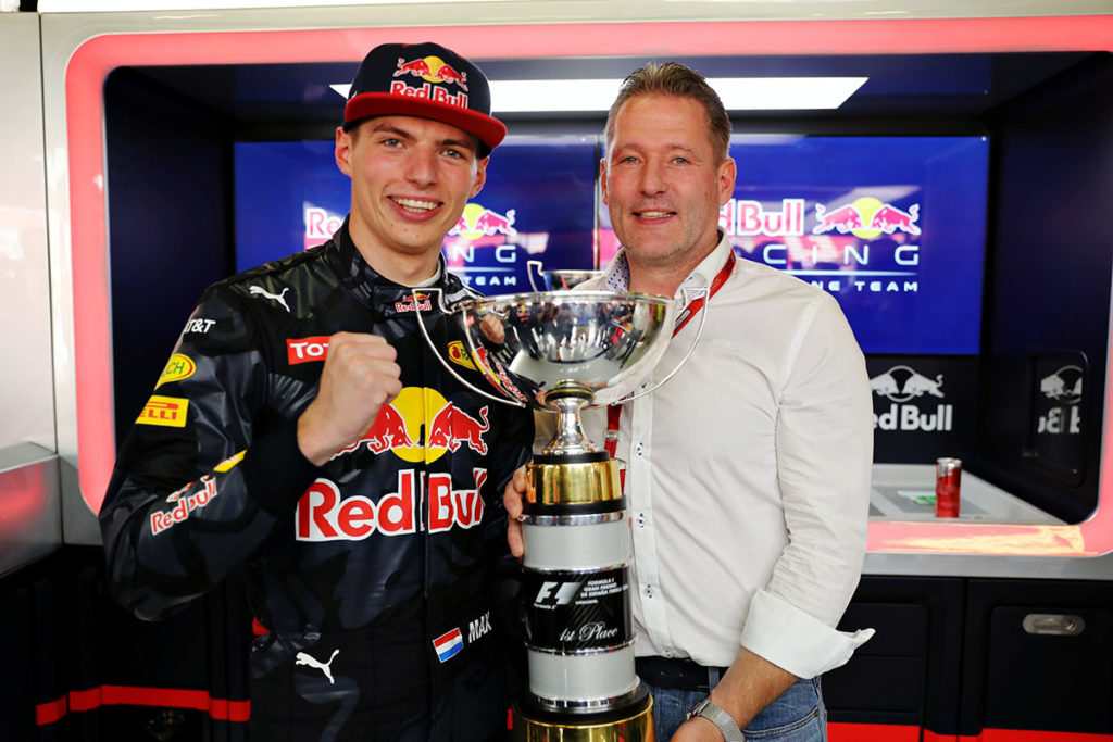 Jos und Max Verstappen in Barcelona 2016. Credit: Red Bull (Photo by Mark Thompson/Getty Images)