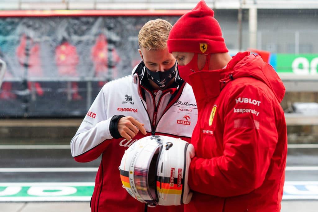 Sebastian Vettel mit Mick Schumacher beim Eifel Grand Prix 2020 Credit: @Scuderia Ferrari Press Office