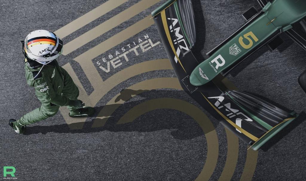 Vettel Aston Martin. Credit: @Rflection1/Twitter