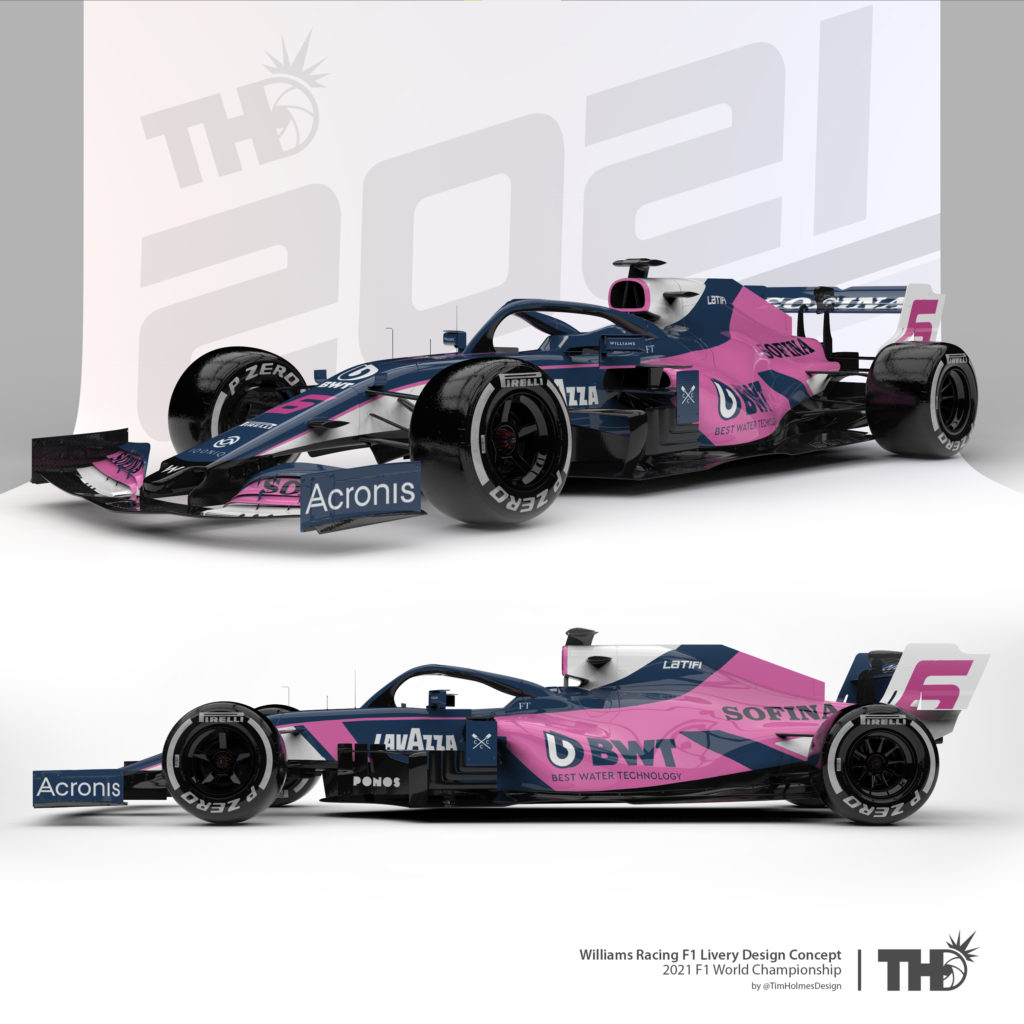 Williams BWT pink design. Credit: Tim Holmes