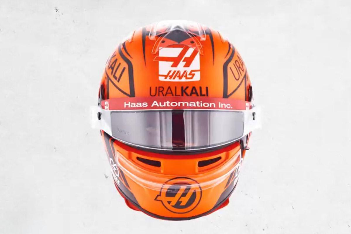 Formel 1 Nikita Mazepin Haas 2021 Helm