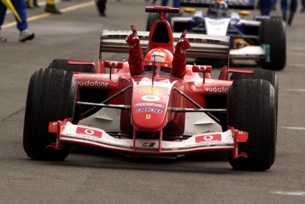 Michael Schumacher nach seinem Sieg 2003 in Indianapolis Credit: Ferrari