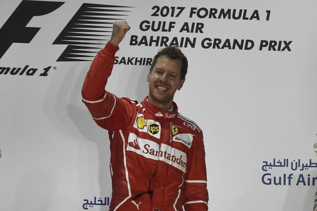Formel 1 Sebastian Vettel Ferrari 2017 Bahrain GP Sieger