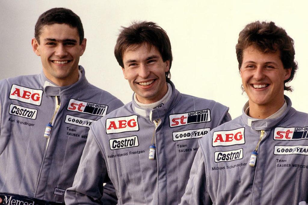 Karl Wendlinger Heinz Harald Frentzen und Michael Schumacher Mercedes Junior Team