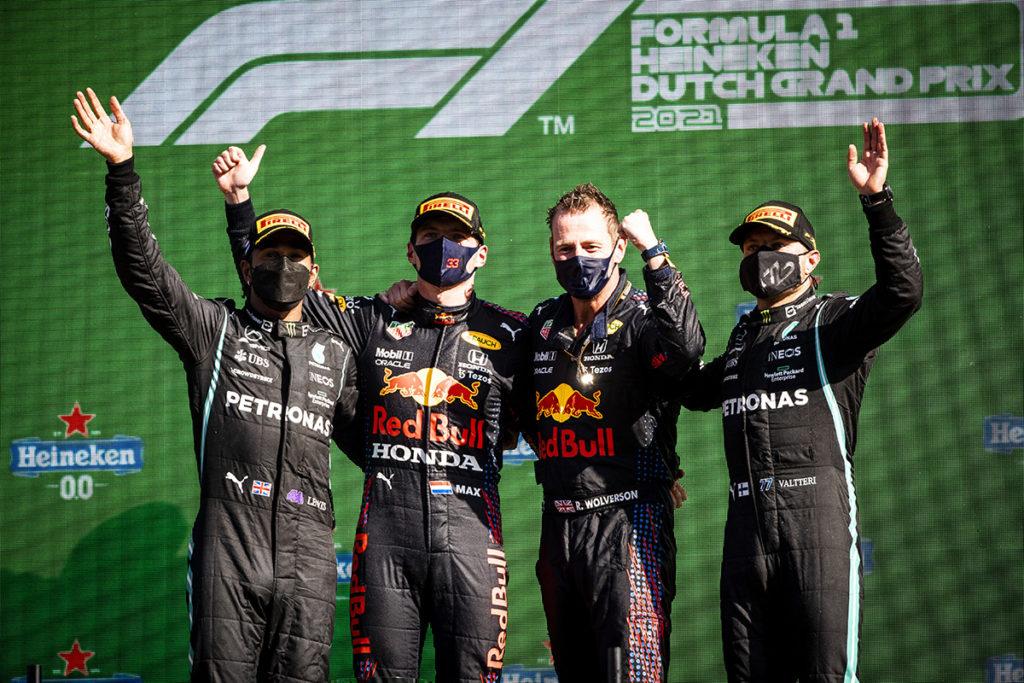 Formel 1 Niederlande GP 2021 Podest Max Verstappen Lewis Hamilton Valtteri Bottas